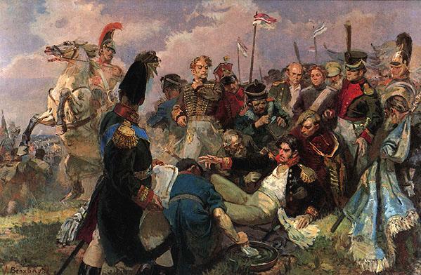 ...сосредоточив для атаки 35000человек и около 300 орудий. раненый князь П.И. Багратион на Бородинском поле ( в центре.