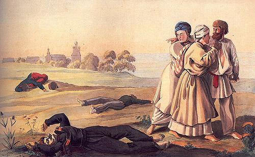 Раскрашенная литография по рисунку Фабера дю Фора