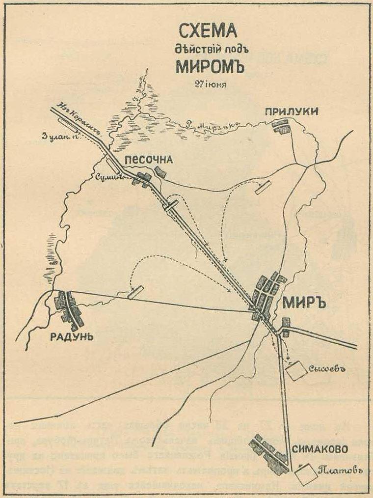Схема действий под Миром 27 июня 1812 года.  Поиск.  Источник информации.