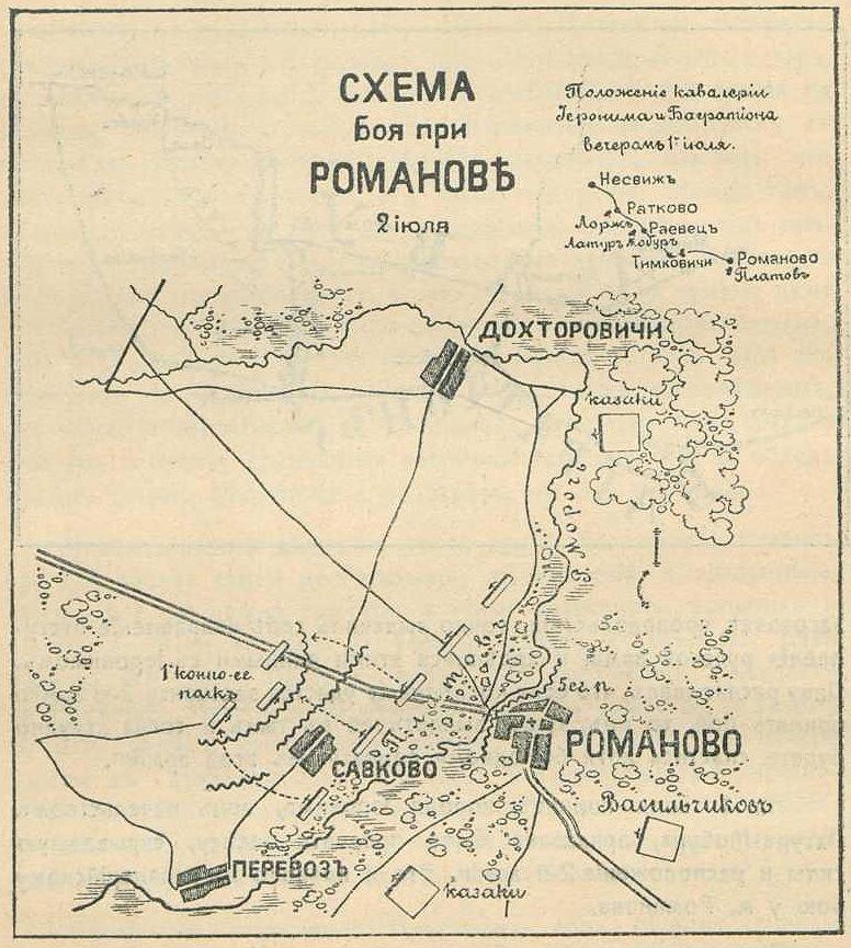 Схема боя при Романове 2 июля 1812 года.  Ниве Петр Андреевич.